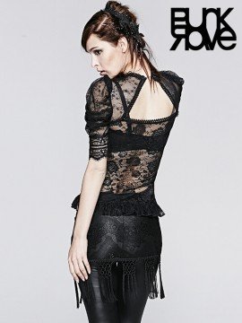 Gothic Semi-Transparent Short Sleeve Lace Top