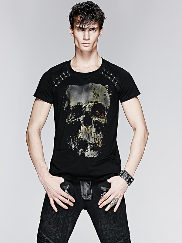 Mens Skull Print & Pearl Rivet T-Shirt