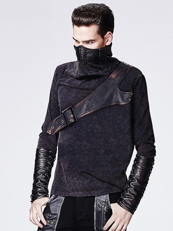 Mens Punk Warrior Leather Mask Collar T-Shirt