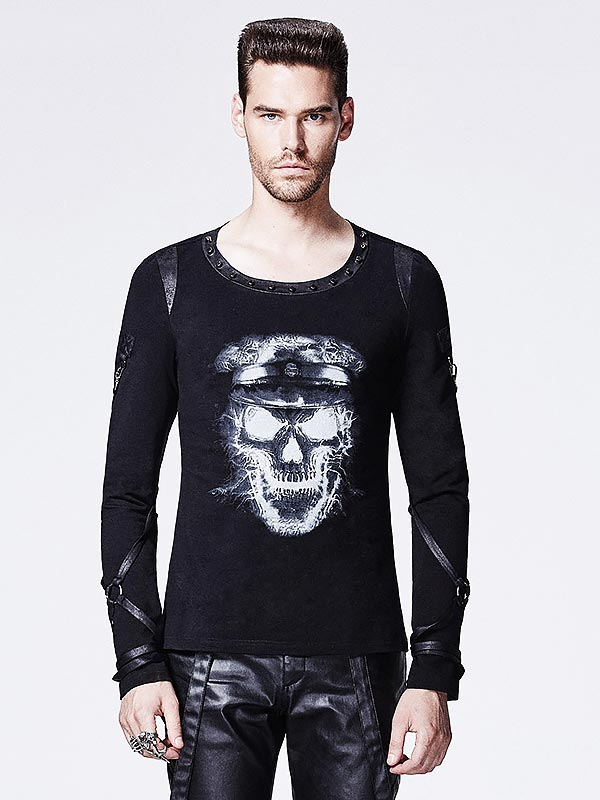 Mens Punk Graphic Skull Print Long Sleeve T-Shirt