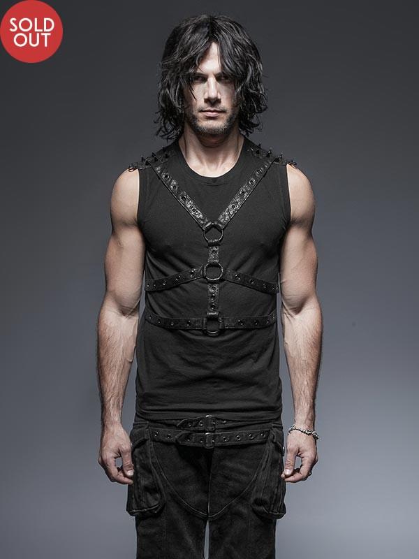 Mens Punk Leather Cross Harness Sleeveless Vest