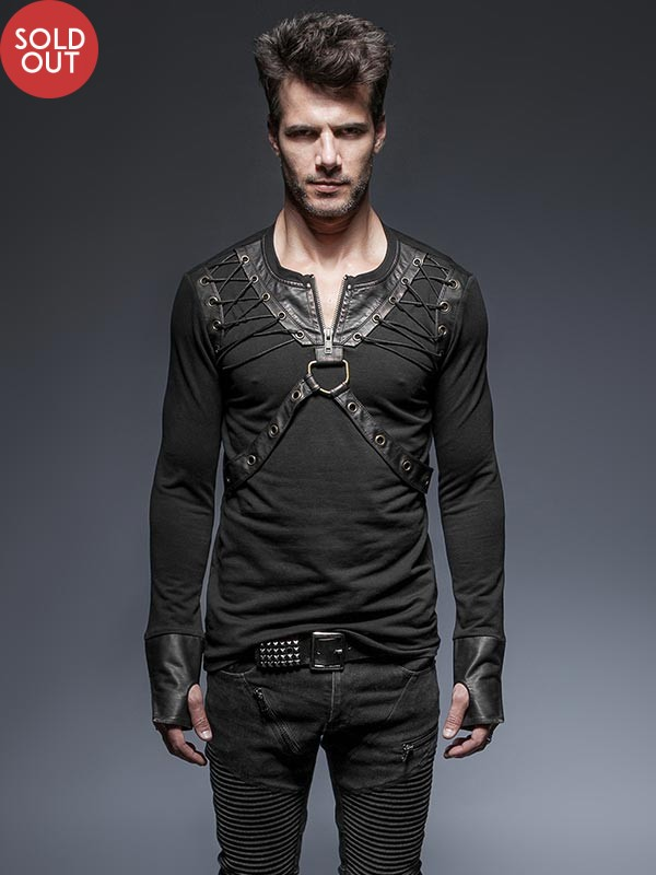 Mens Punk Leather Lacing Harness T-Shirt