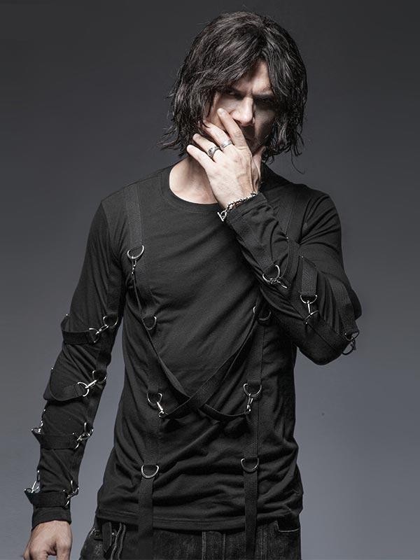 Mens Punk Cross Rope Long Sleeve T-Shirt - Black