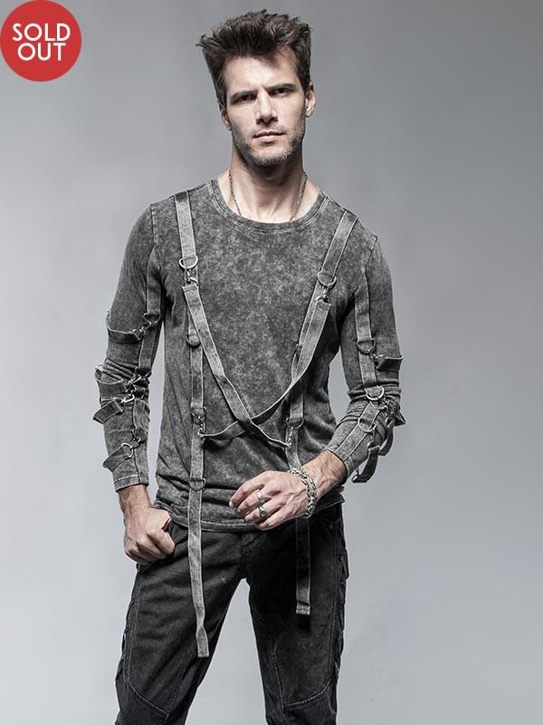 Mens Punk Cross Rope Long Sleeve T-Shirt - Grey
