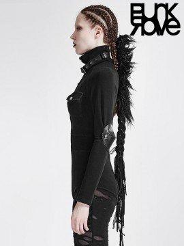 Punk Military Uniform Long Sleeve T-Shirt Bodysuit - Black