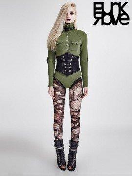 Punk Military Uniform Long Sleeve T-Shirt Bodysuit - Army Green