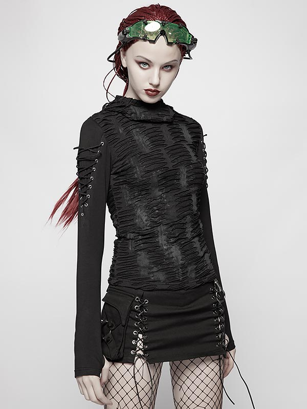 Gothic Distressed Long Sleeve Hoodie T-Shirt