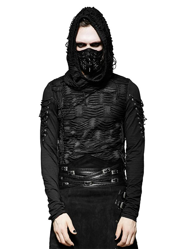 Mens Gothic Distressed Long Sleeve Hoodie T-Shirt