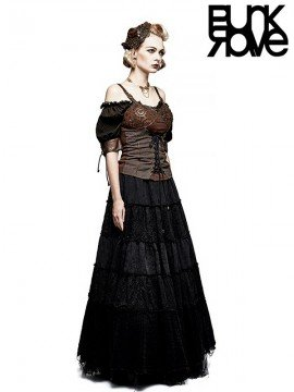 Steampunk Peasant Blouse - Black