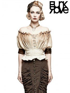 Steampunk Peasant Blouse - Off White