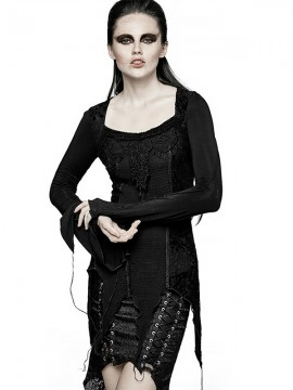 Gothic Asymmetrical Hem Blouse