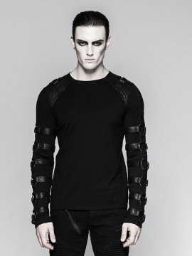 Mens Punk Warrior Heavy Metal Long Sleeve T-Shirt