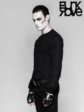 Mens Punk Iron Chain & Skull Head Sweater