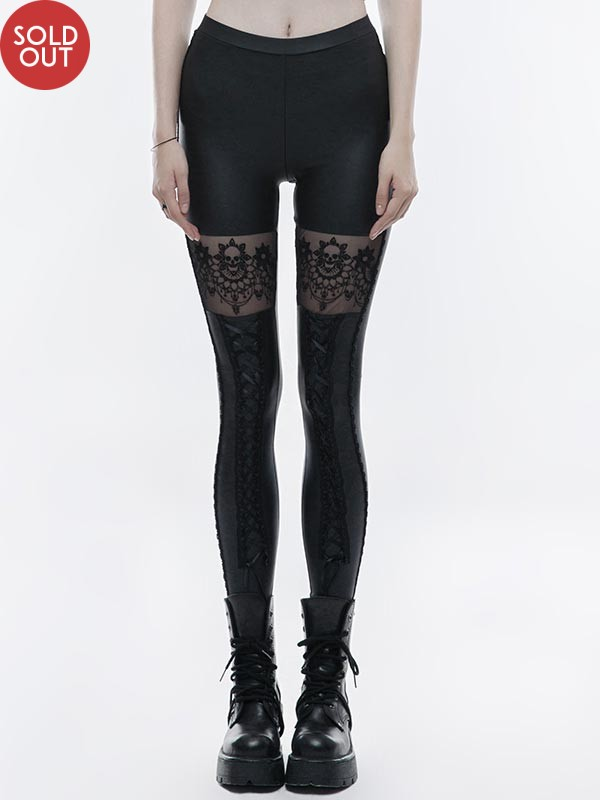Gothic Skull Embroidered Stretch Leggings