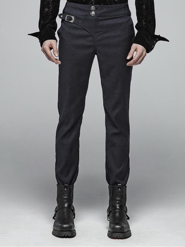 Mens Gothic Gentlemen's Simple Blue Trousers
