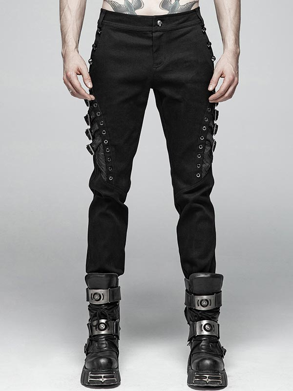 Mens Punk Black Trousers