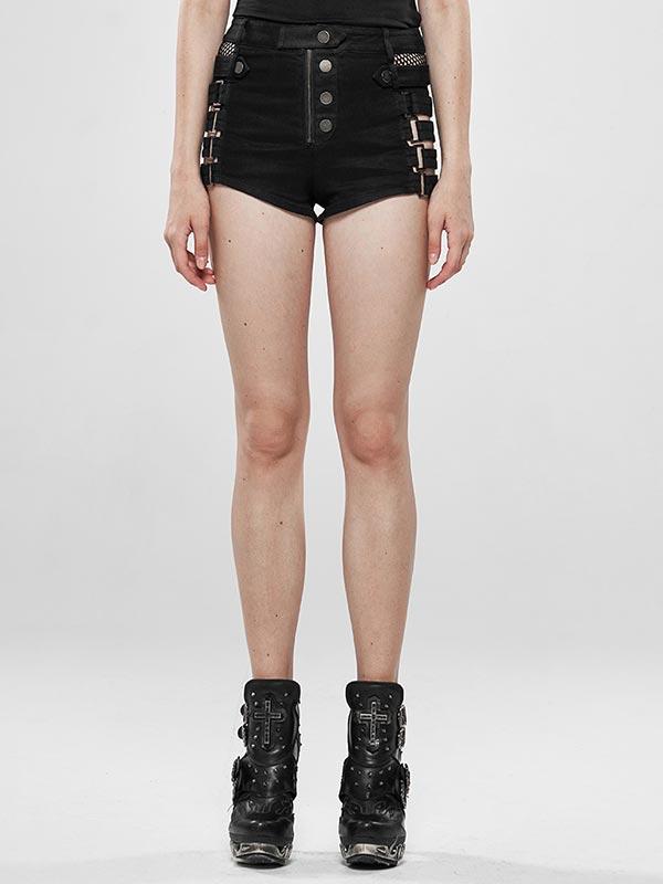 Metallic Rock Hollow Denim Shorts