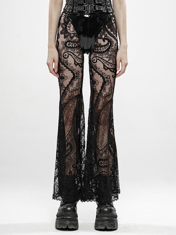 Gothic Paisley Pattern Transparent Lace Pants