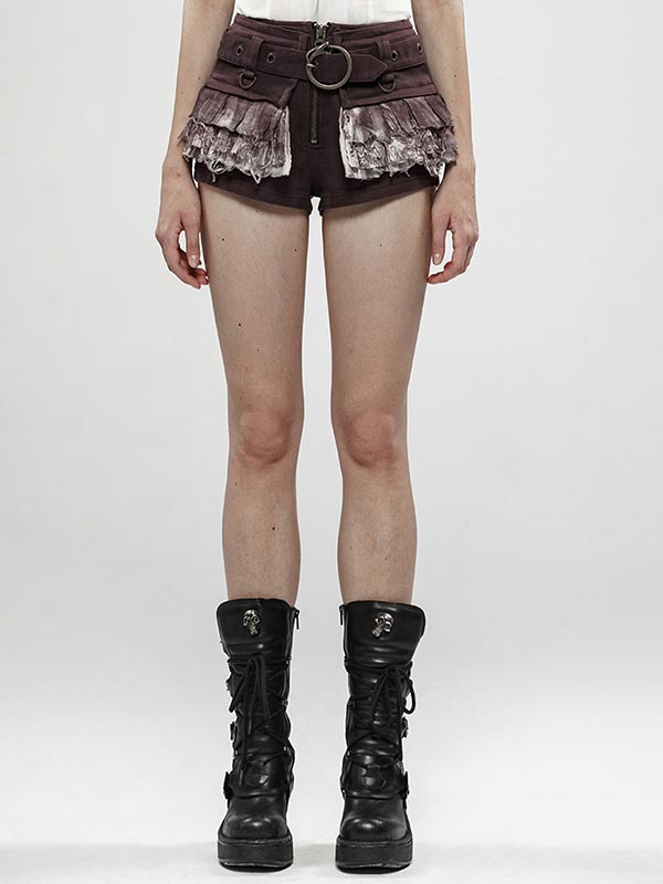 Steampunk Viper Stone Washed Shorts - Brown & White