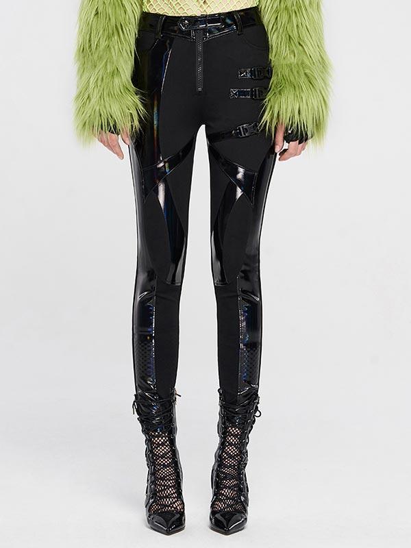 Punk Glitzy Knit Leather Pants