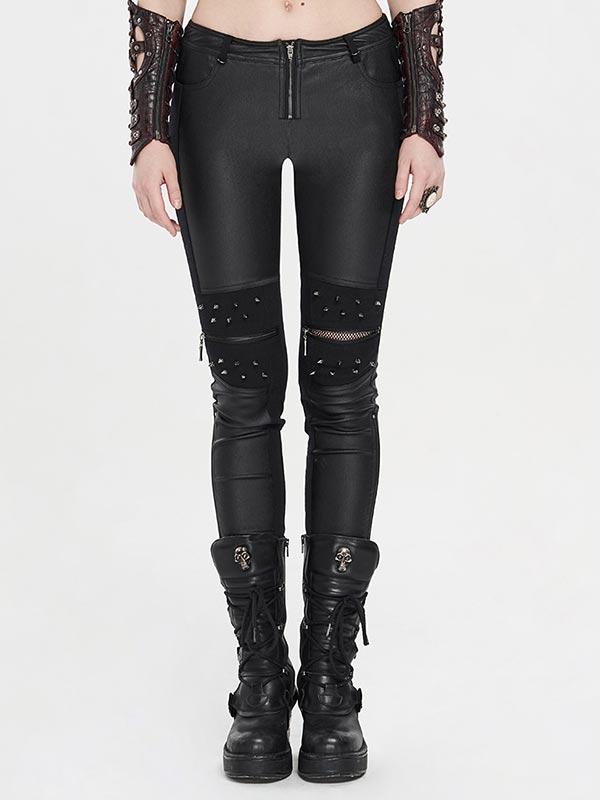 Punk Spike Rivet Leather Pants