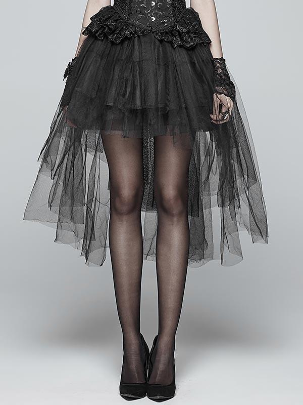 Lolita Gothic Basic Bustle Irregular Net Skirt