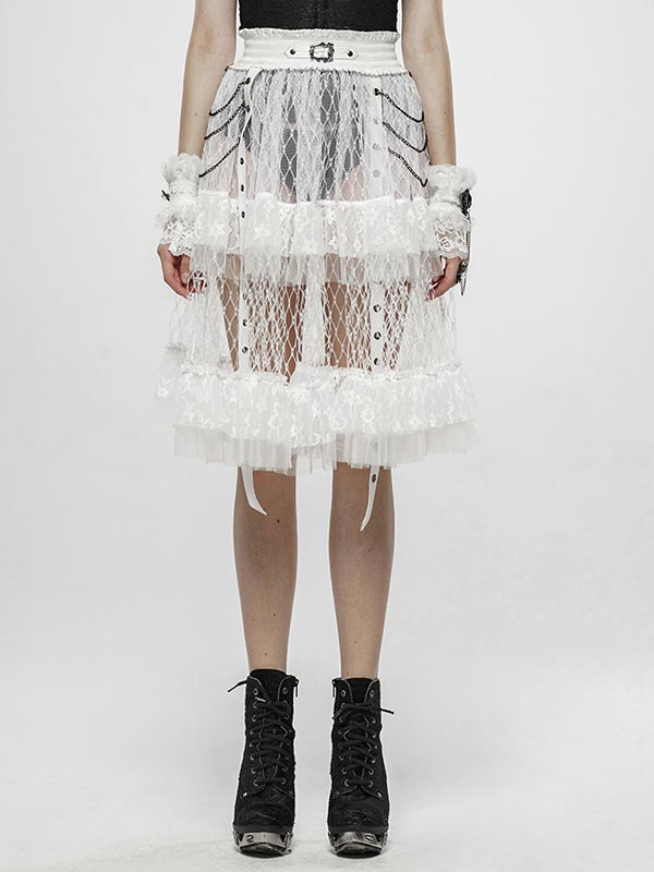 Lolita Taboo Cage Skirt - White