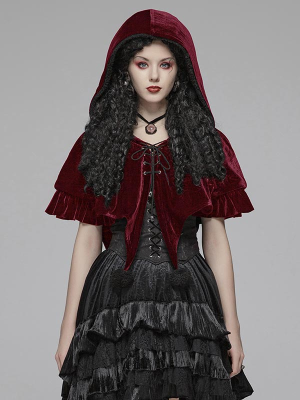 Lolita Red Riding Hood Style Short Cloak - Red