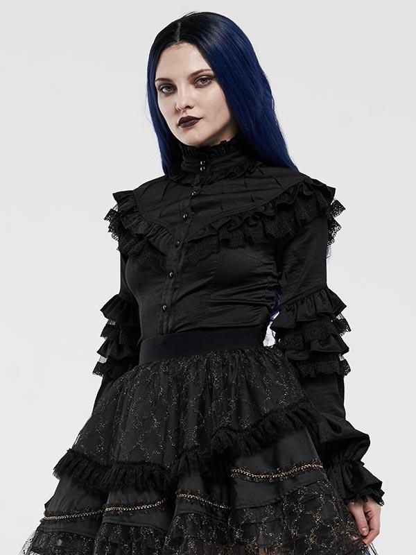 Lolita Lotus Leaf Ruffle Lace Shirt - Black
