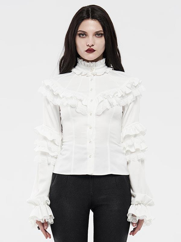 Lolita Lotus Leaf Ruffle Lace Shirt - White