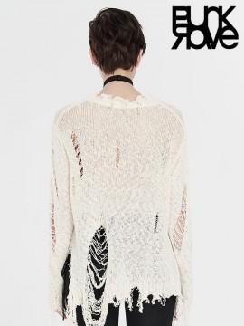 Punk Distressed White Sweater