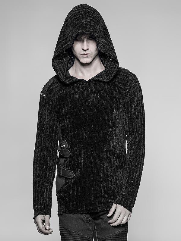 Mens Dark Punk Sweater Hoodie