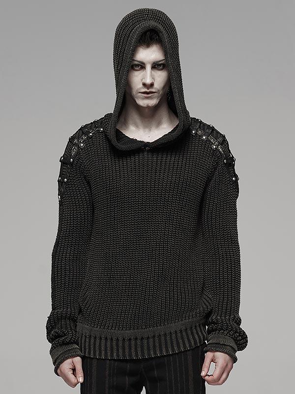 Mens Punk Vintage Hoodie Sweater