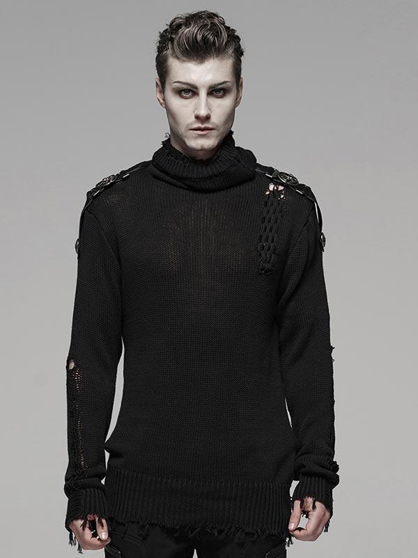 Men's Distressed Uniform Knit Sweater