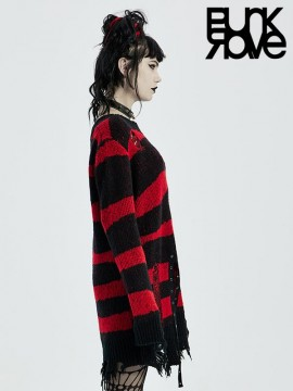 Gothic Black & Red Pullover Sweater