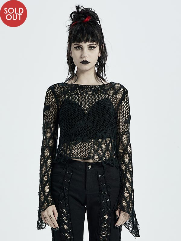 Irregular Distressed Sweater - Mid Length