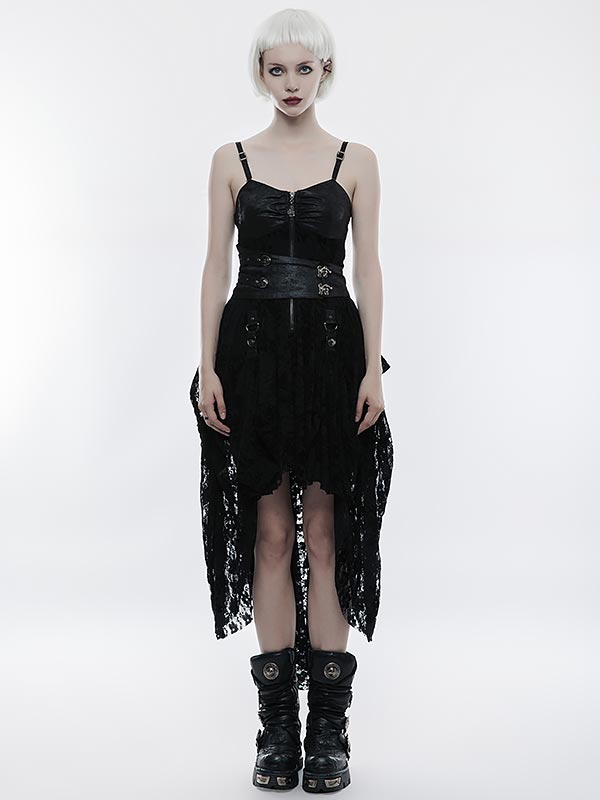 Steampunk Adjustable High/Low Dress - Black