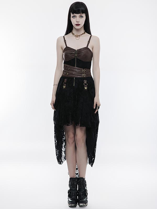 Steampunk Adjustable High/Low Dress - Black & Coffee