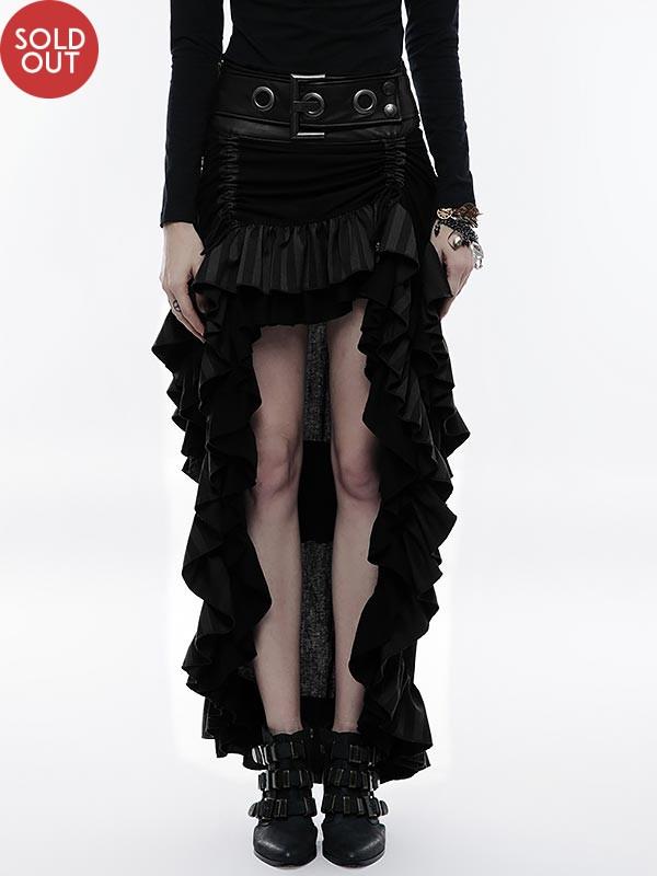 Steampunk High/Low Layered Skirt - Black