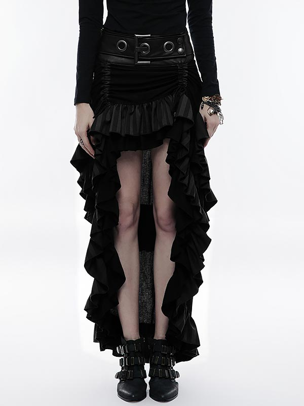 Steampunk High/Low Layered Skirt - Black