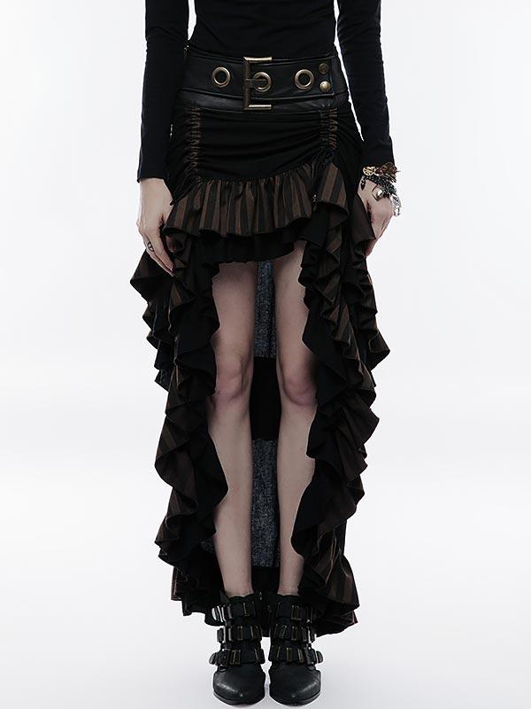 Steampunk High/Low Layered Skirt - Black & Coffee
