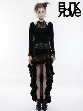 Steampunk High/Low Layered Skirt - Black & Coffee
