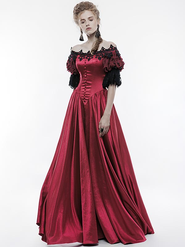 Victorian Gothic Vintage Palace Red Dress