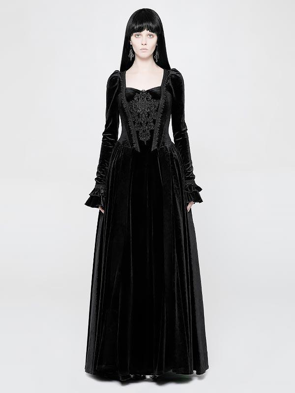 Gothic Victorian Black Velvet Long Dress