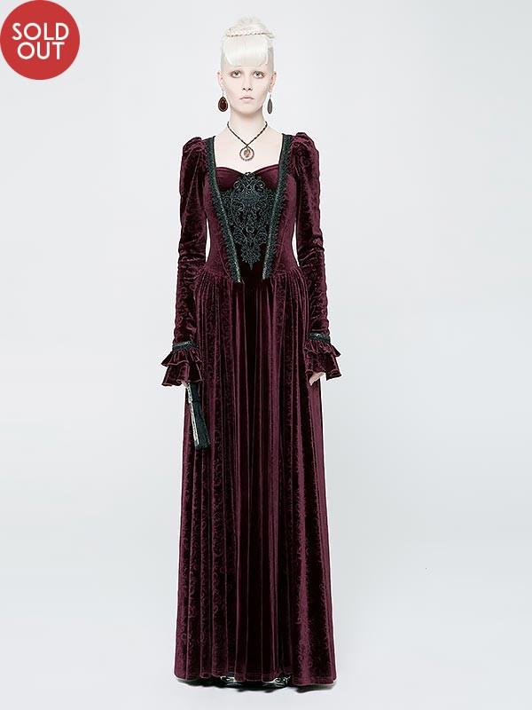 Gothic Victorian Red Velvet Long Dress