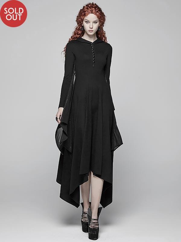 Gothic Bat Wing Dress with Hood - Black