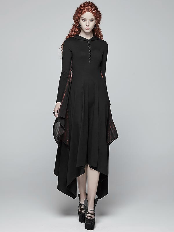 Gothic Bat Wing Dress with Hood - Black & Red