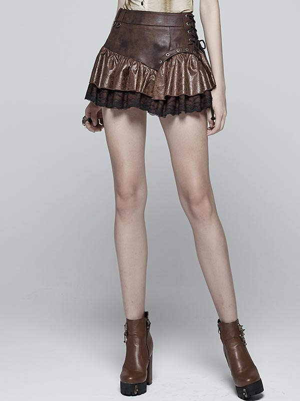 Steampunk Miniskirt - Coffee
