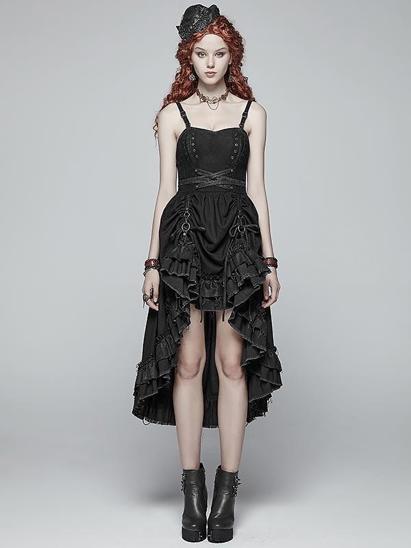 Steampunk Adjustable Hi/Lo Pleated Dress - Black