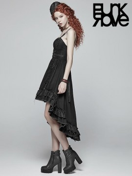 Steampunk Adjustable Hi/Lo Pleated Dress - Black